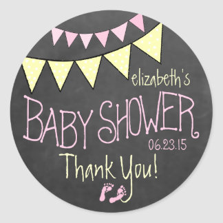 Pink Yellow Bunting Chalkboard Look Baby Shower Classic Round Sticker