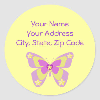Pink & Yellow butterfly address label
