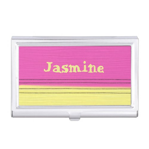 Pink Yellow Candy Stripe Pattern Custom Name Business Card Cases