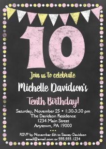 Pink Yellow Chalkboard 10th Birthday Invitation