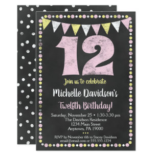 Pink Yellow Chalkboard 12th Birthday Invitation