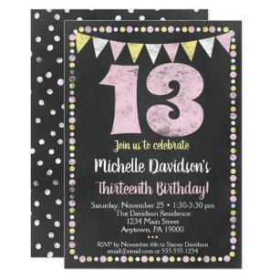 Pink Yellow Chalkboard 13th Birthday Invitation