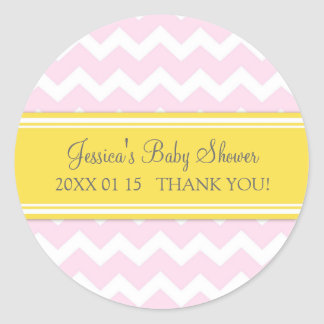 Pink Yellow Chevron Baby Shower Favor Stickers