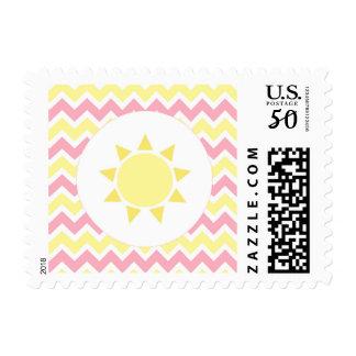 Pink Yellow Chevron Girl Sunshine baby shower Postage