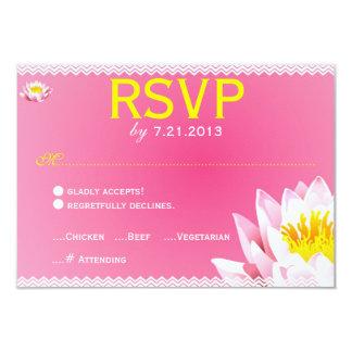 Pink & Yellow Chevron Lotus Flower RSVP Card