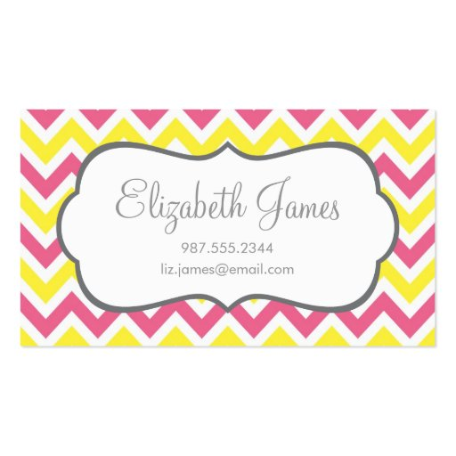 Pink & Yellow Colorful Chevron Stripes Double-Sided Standard Business Cards (Pack Of 100)