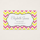 Pink & Yellow Colorful Chevron Stripes Business Card