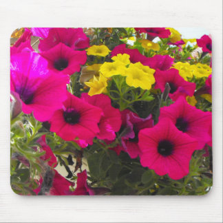 pink, yellow, colorful summer flowers basket mouse pad