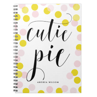 Pink & Yellow Confetti Dots Cutie Pie Calligraphy Notebook
