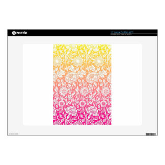 Pink & Yellow Contemporary Floral Pastel Design Decal For Laptop