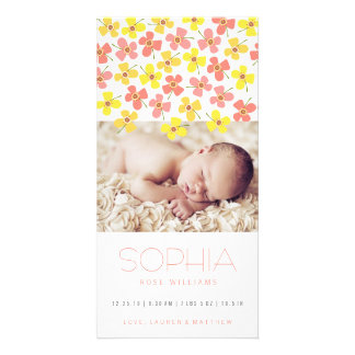 Pink Yellow Daisies Baby Girl Birth Announcement