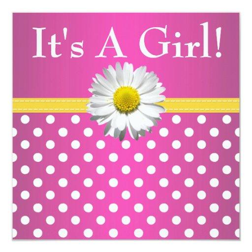 Pink Yellow Daisy Baby Shower Invitation