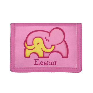 Pink yellow elephant hug add your name purse tri-fold wallets