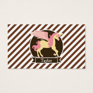 Pink & Yellow Fantasy Unicorn; Brown White Stripes Business Card