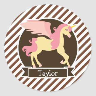 Pink & Yellow Fantasy Unicorn; Brown White Stripes Classic Round Sticker