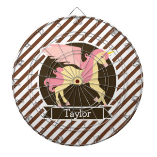 Pink & Yellow Fantasy Unicorn; Brown White Stripes Dart Boards