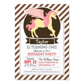 "Pink & Yellow Fantasy Unicorn; Brown White Stripes 5"" X 7"" Invitation Card"