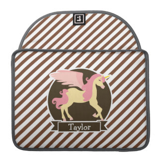 Pink & Yellow Fantasy Unicorn; Brown White Stripes MacBook Pro Sleeve
