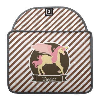 Pink & Yellow Fantasy Unicorn; Brown White Stripes MacBook Pro Sleeve