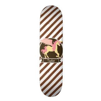 Pink & Yellow Fantasy Unicorn; Brown White Stripes Skateboard Deck