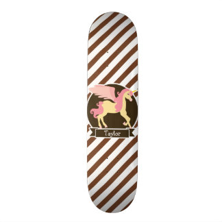 Pink & Yellow Fantasy Unicorn; Brown White Stripes Skateboard Deck