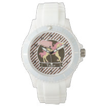 Pink & Yellow Fantasy Unicorn; Brown White Stripes Watch