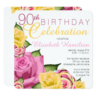 Pink | Yellow Floral 90th Birthday Celebration Card