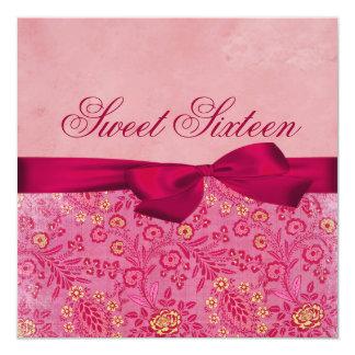 Pink & Yellow Floral Bow Birthday Invitation