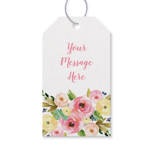 Pink & Yellow Floral Bridal Shower Gift Tags