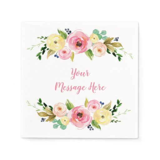 Pink & Yellow Floral Bridal Shower Paper Napkin
