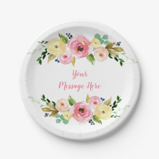 Pink & Yellow Floral Bridal Shower Paper Plate