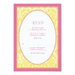 Pink Yellow Floral Damask Wedding Reply Card