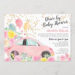 Pink yellow floral gold car drive by baby shower invitation