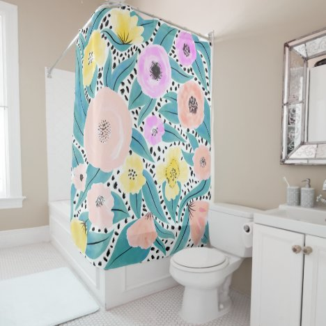 Pink Yellow Floral Polka Dots Watercolor Pattern Shower Curtain