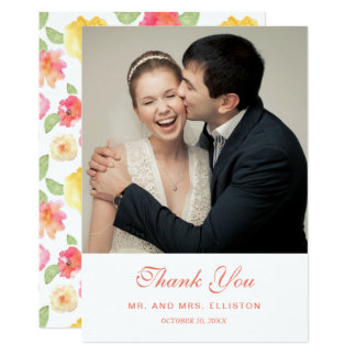 Pink & Yellow Floral Watercolor | Thank You Card