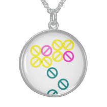 Pink Yellow Flower Pattern Round Necklace