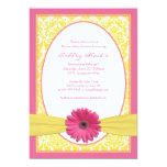 "Pink Yellow Gerbera Daisy Baby Shower Invitation 5"" X 7"" Invitation Card"