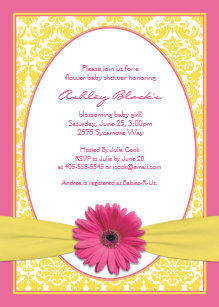 Pink Yellow Gerbera Daisy Baby Shower Invitation