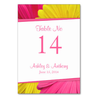 Pink Yellow Gerbera Daisy Flower Wedding Table Cards