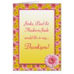 Pink Yellow Gerbera Daisy Flowers Baby Thankyou Cards