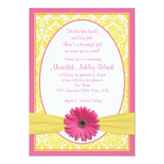 Pink Yellow Gerbera Daisy Sip N See Baby Shower Personalized Invite
