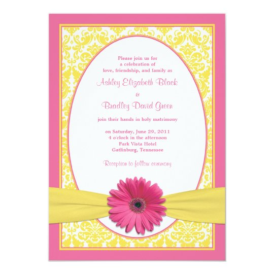 Gerbera Wedding Invitations: Pink Yellow Gerbera Daisy Wedding Invitation