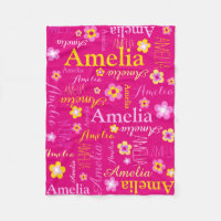 Pink yellow girls name Amelia flower blanket