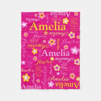 Pink yellow girls name Amelia flower blanket