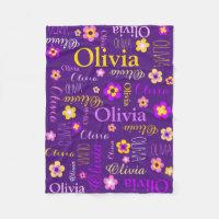 Pink yellow girls name Olivia flower blanket