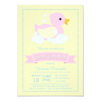 Pink Yellow Girls Pink Rubber Duck Baby Shower Card