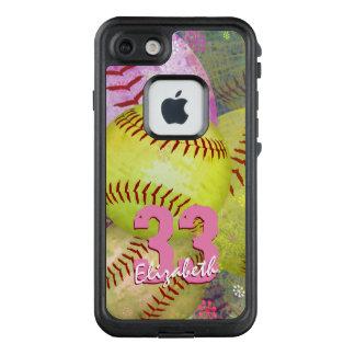 pink yellow girly women's softball LifeProof® FRĒ® iPhone 7 case