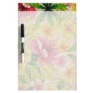 Pink & Yellow Glittery Flowers Dry-Erase Board