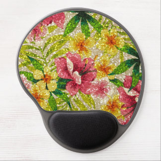 Pink & Yellow Glittery Flowers Gel Mouse Pad