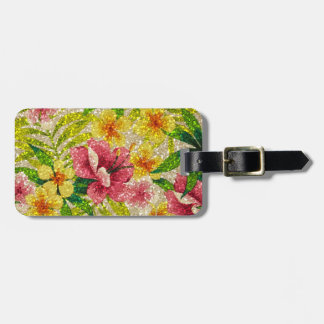 Pink & Yellow Glittery Flowers Luggage Tag